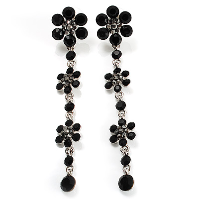 Long Statement Floral Dangle Earrings (Silver&Jet Black) -7cm Drop