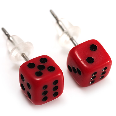 Tiny Red Plastic Dice Stud Earrings (Silver Tone) -5mm Diameter