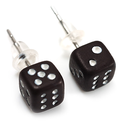 Tiny Black Plastic Dice Stud Earrings (Silver Tone) -5mm Diameter