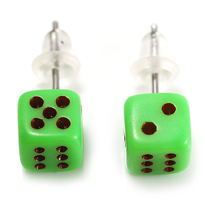 Tiny Bright Green Plastic Dice Stud Earrings (Silver Tone) -5mm Diameter - main view