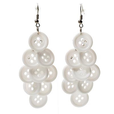 White Plastic Button Drop Earrings (Silver Tone) - 8cm Drop - main view