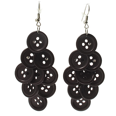 Black Plastic Button Drop Earrings (Silver Tone) - 8cm Drop - main view