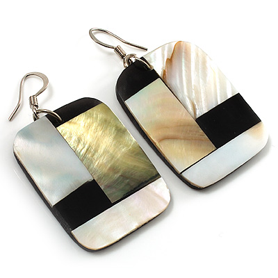 Square Shaped Shell Drop Earrings - 5cm Drop