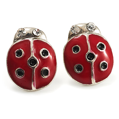 Red Enamel Lady Bird Stud Earrings (Silver Tone)