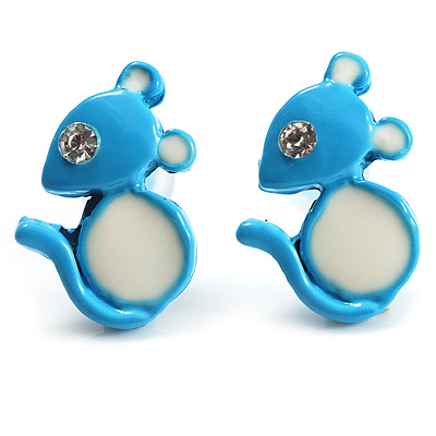 Tiny Diamante Mouse Enamel Stud Earrings (Light Blue &amp; White)
