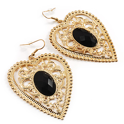 Large Filigree Heart Drop Earrings (Gold Tone) - 7.5cm Drop