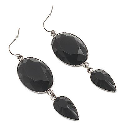 Black Tone Acrylic Drop Earrings - 7cm Drop - main view