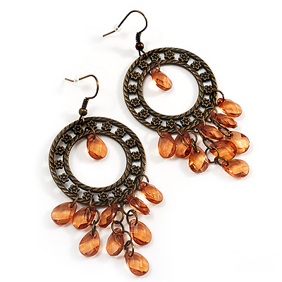 Bronze Filigree Citrine Bead Chandelier Hoop Earrings - 7.5cm Drop
