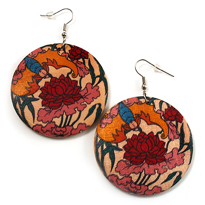 Round Floral Wood Drop Earrings (Silver Tone) -5cm Diameter