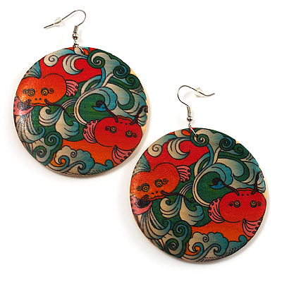 Fish Pattern Round Wood Drop Earrings (Silver Tone) - 6cm Diameter