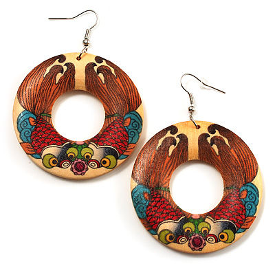 Funky Fish Pattern Donut Wood Drop Earrings (Silver Tone) - 5cm Diameter