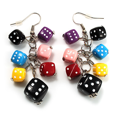 Resin Multi Coloured Dice Dangle Earrings (Silver Tone)