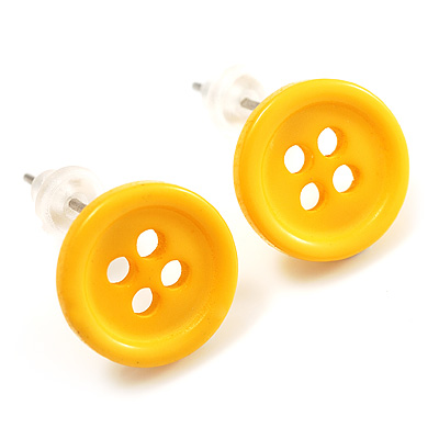 Small Yellow Plastic Button Stud Earrings (Silver Tone) -11mm Diameter - main view