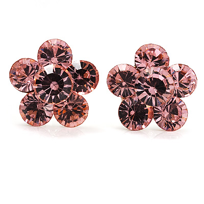 Small Pink Diamante Flower Stud Earrigns (Silver Tone) -2cm Diameter - main view