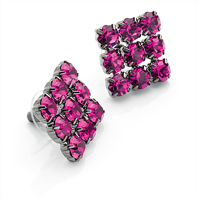 Magenta Diamante Square Stud Earrings (Black Tone Metal) - main view