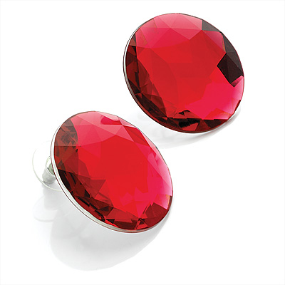 Bright Red Round Faceted Acrylic Stud Earrings - 3cm Diameter - main view