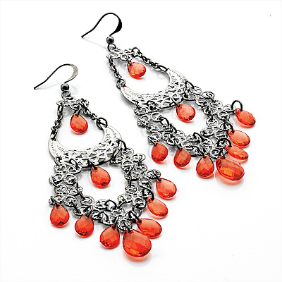 Pale Red Acrylic Bead Chandelier Earrings (Gun Metal) - 10cm Drop