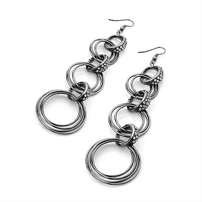 Long Gun Metal Crystal Cascade Hoop Earrings - 12cm Drop