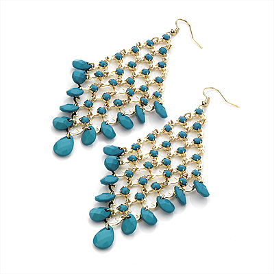 Long Turquoise Acrylic Bead Chandelier Dangle Earrings (Gold Tone) -13cm Drop
