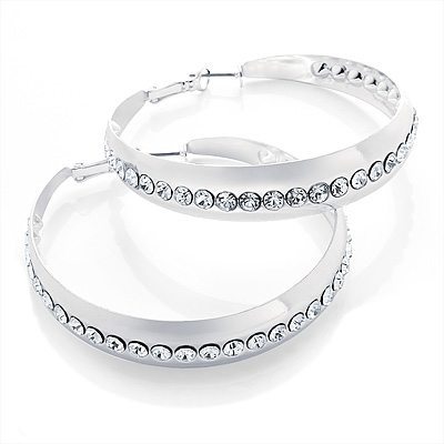 Large Metallic Silver Crystal Hoop Earrings - 6cm Diameter