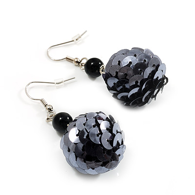 Black Sequin Ball Drop Earrings (Silver Tone) - 5.5cm Drop