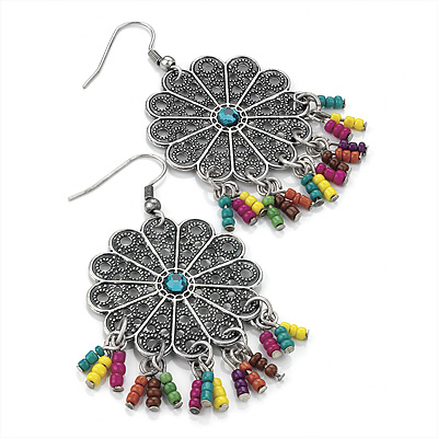 Floral Filigree Beaded Drop Earrings (Antique Silver) - 6cm Drop - main view