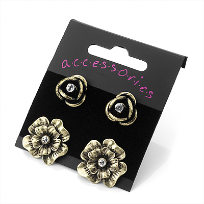 Jewel Floral Stud Earrings 2 Pairs (Bronze Tone)