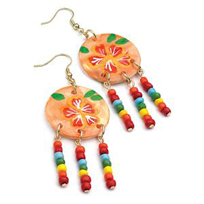 Multicoloured Bead Shell Drop Earrings (Gold Tone) - 8cm - main view