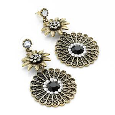 Bronze Tone Filigree Floral Jewelled Drop Earrings - 7cm Drop - main view