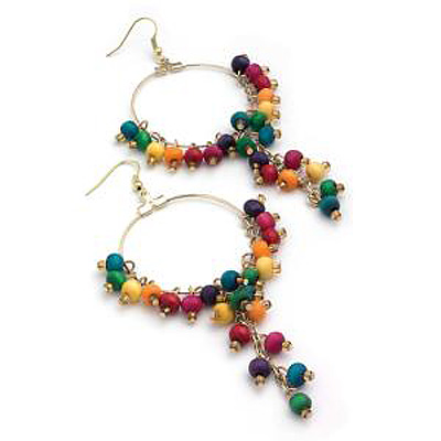 Multicoloured Wood Bead Drop Hoop Earrings ( Gold Tone) - 11cm Drop - main view