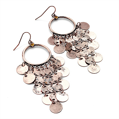 Copper Tone Coin Drop Hoop Earrings - 8.5cm Drop