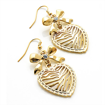 Gold Tone Crystal Bow Heart Drop Earrings - 5.5cm Drop