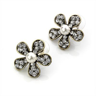 Charming Diamante Simulated Pearl Daisy Stud Earrings (Burn Gold Metal) - 2.5cm Diameter - main view