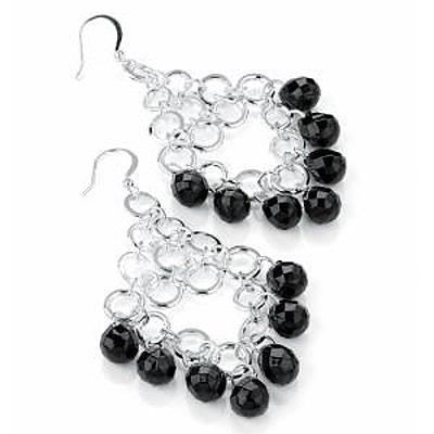 Black Bead Chandelier Earrings (Silver Tone) - 7.5cm Drop - main view