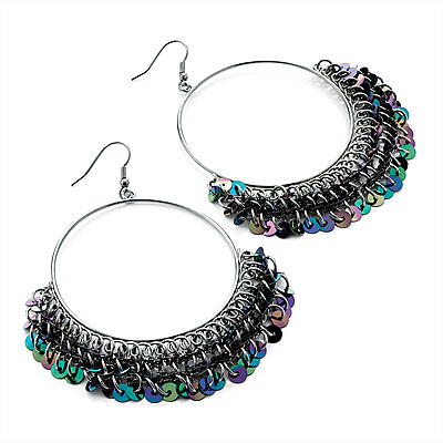 Oversized Peacock Sequin Hoop Earrings (Black Tone) - 5.5cm Diameter