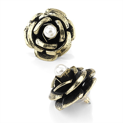 Large Dimensional Rose Stud Earrings (Bronze Tone) - 3cm Diameter - main view