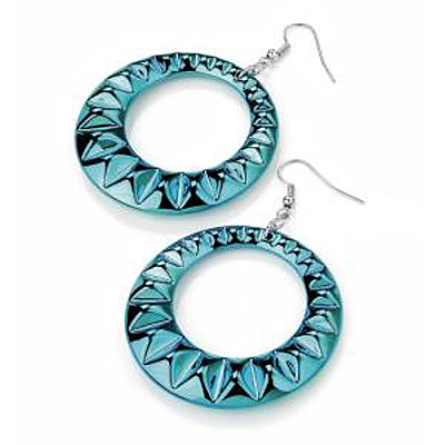 Teal Puffed Metal Hoop Drop Earrings (Silver Tone) - 5cm Diameter