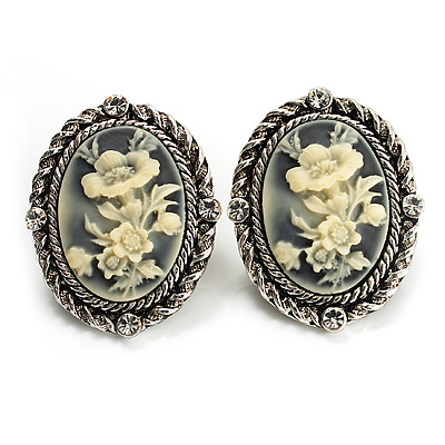Antique Silver Floral Cameo Clip-On Earrings - 35mm Length - main view