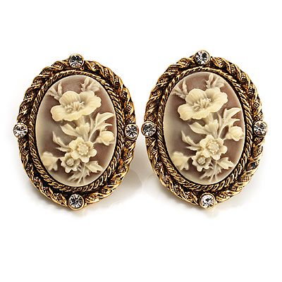 Antique Gold Floral Cameo Clip-On Earrings - main view