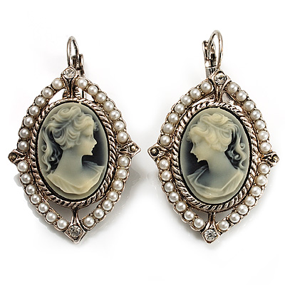 Vintage Cameo Pearl Style Drop Earrings (Burn Silver)