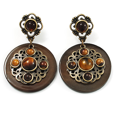 Vintage Round Shell Amber Style Bead Drop Earrings (Bronze Tone)