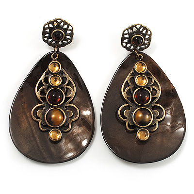 Vintage Teardrop Shell Amber Style Bead Drop Earrings (Bronze Tone)