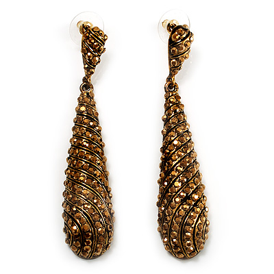 Antique Gold Swarovski Crystal Teardrop Earrings - 7.5cm Drop