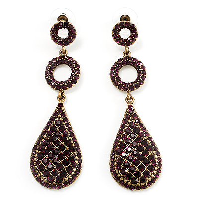 Antique Gold Purple Swarovski Crystal Teardrop Earrings - 8cm Drop
