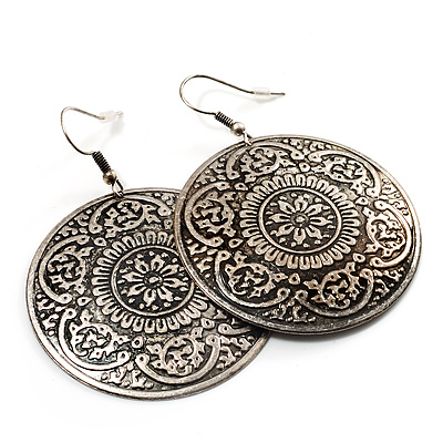 Burn Silver Hammered Disk Drop Earrings - 4.5cm Diameter - main view