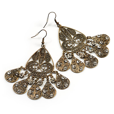 Vintage Bronze Tone Filigree Chandelier Earrings - 8cm Drop