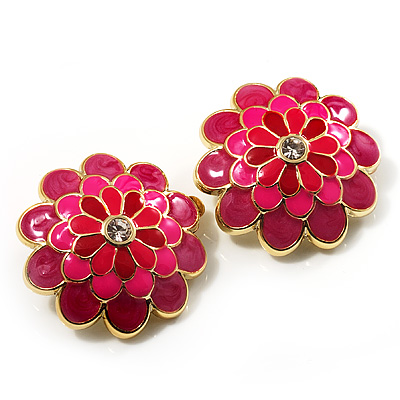 Bright Pink Enamel Floral Clip On Earrings -3.5cm Diameter - main view