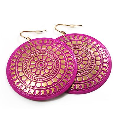 Large Deep Pink Hammered Disk Drop Earrings (Gold Tone) - 5.5cm Diameter
