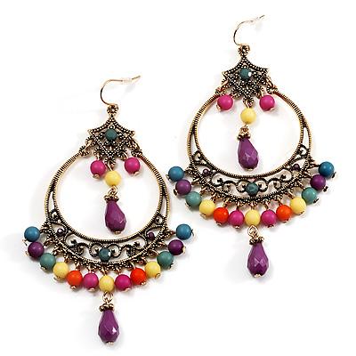 Multicoloured Acrylic Bead Hoop Earrings (Gold Tone) - 9cm Drop - main view