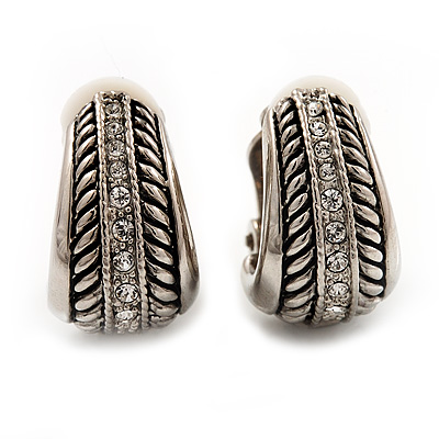 C-Shape Diamante Textured Clip On Earrings (Antique Silver Tone)